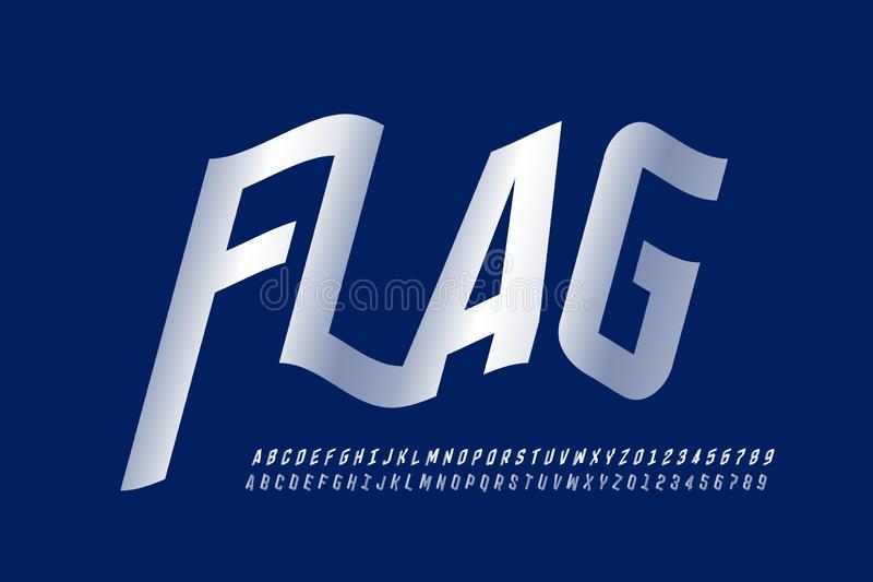 Fonte de ondulação do estilo da bandeira ilustração stock
