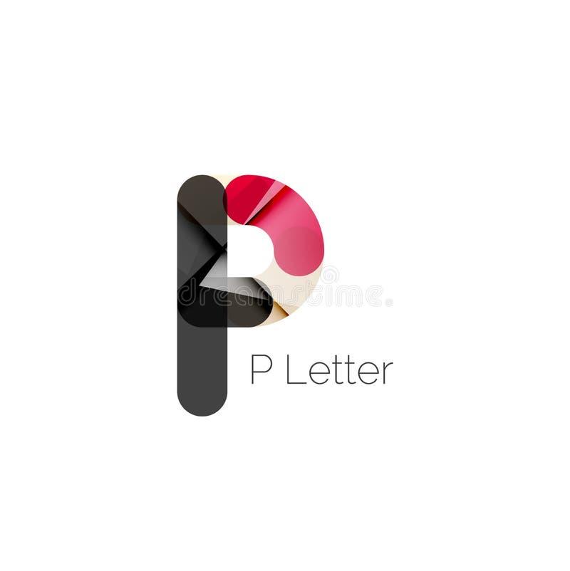 Fonte de P ou projeto mínimo do logotipo da letra ilustração royalty free