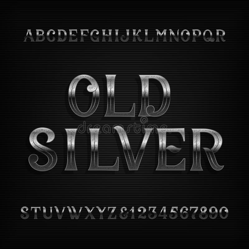 Fonte de prata idosa do alfabeto O vintage oxidou letras e números do metal ilustração do vetor