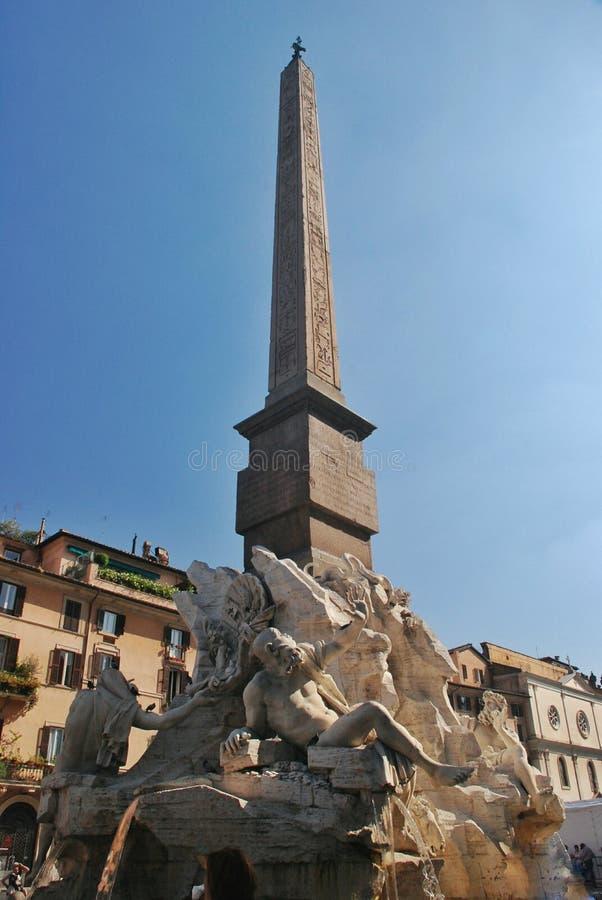 Fonte de quatro rios na praça Navona, Roma fotos de stock