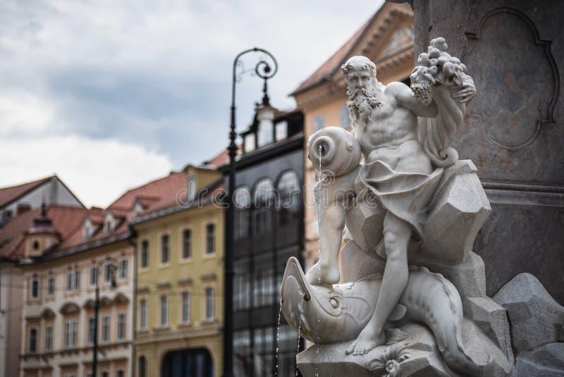 Fonte de Robba em Ljubljana, Eslovênia imagens de stock royalty free