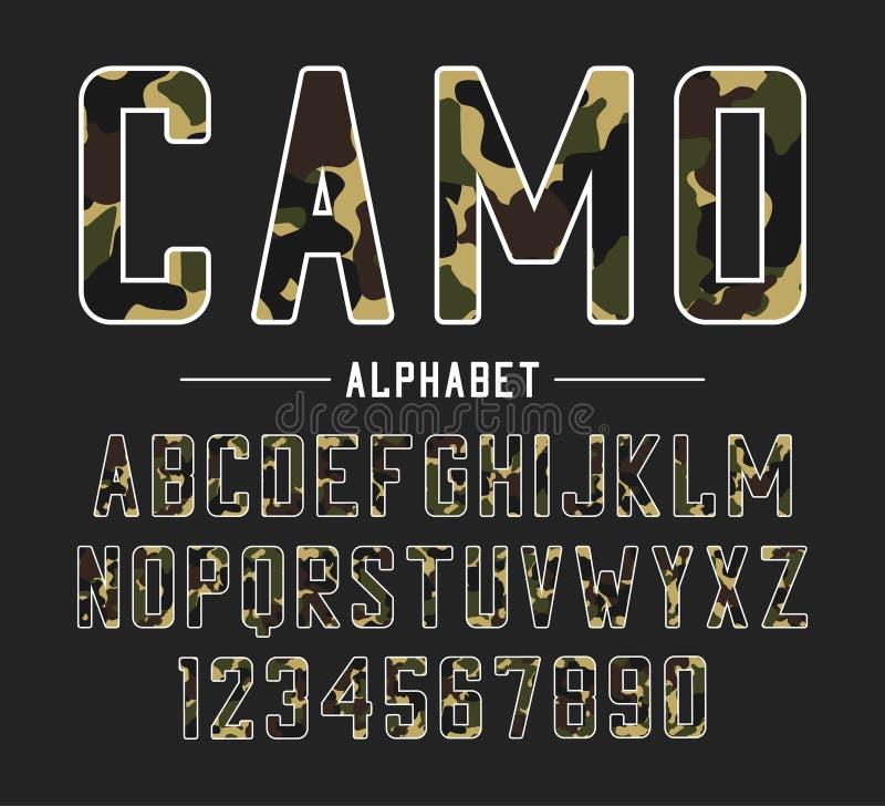 Fonte de Sans Serif com textura da camuflagem Caráter tipo corajoso condensado, alfabeto alto com números nas forças armadas e es ilustração royalty free