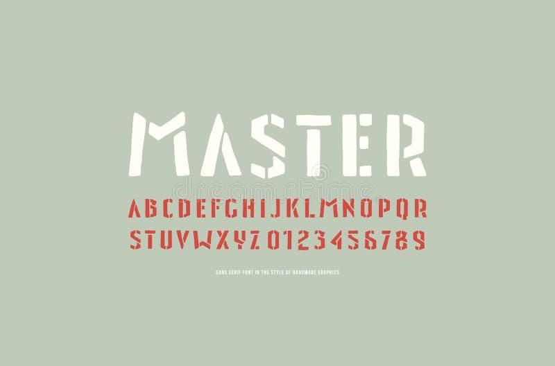 fonte de Sans Serif da Estêncil-placa ao estilo dos gráficos feitos a mão ilustração stock