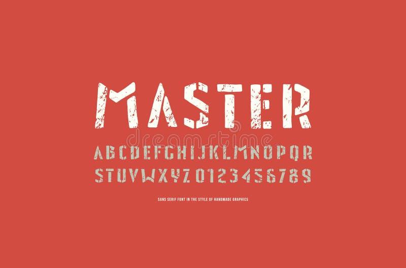 fonte de Sans Serif da Estêncil-placa ao estilo dos gráficos feitos a mão ilustração do vetor