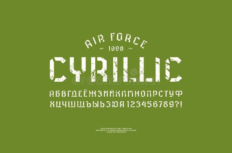 fonte de Sans Serif da Estêncil-placa no estilo militar ilustração royalty free