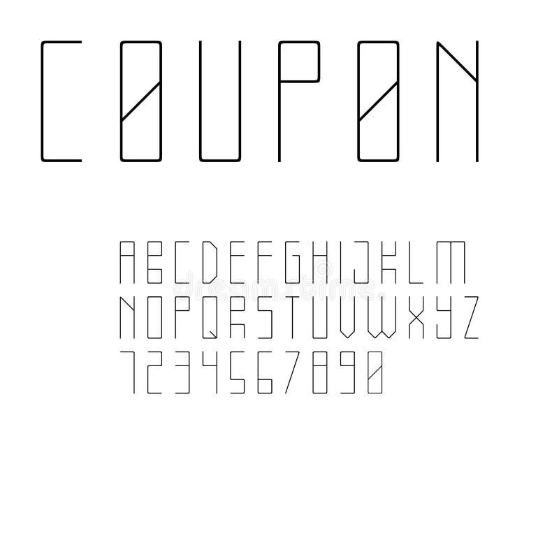 Fonte de Sans Serif do estilo de Minimalistic ilustração stock