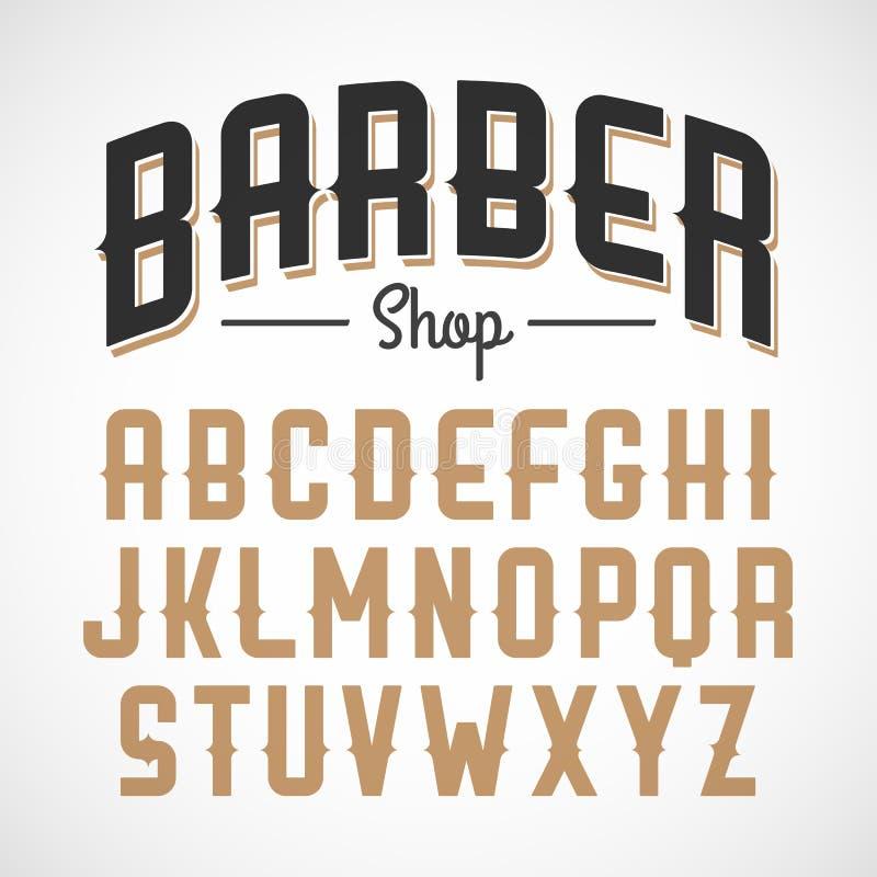 Fonte de Sans Serif do estilo do vintage ilustração stock