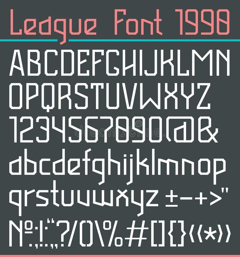 Fonte de Sans Serif na linha estilo fina ilustração stock