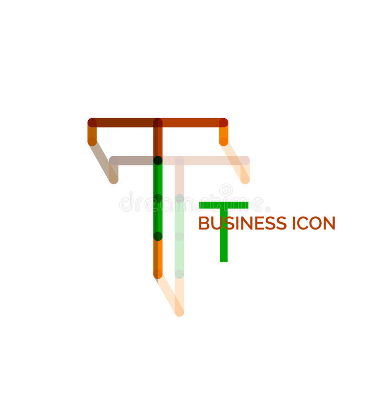 Fonte de T ou projeto mínimo do logotipo da letra ilustração do vetor