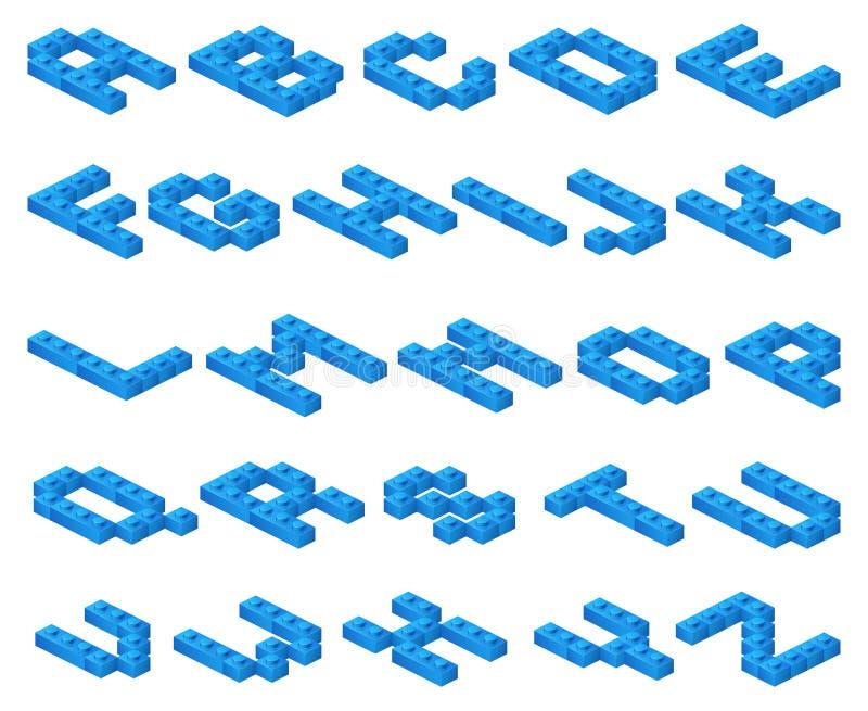 A fonte de vetor 3D isométrica de azul plástico cuba o construtor ilustração royalty free