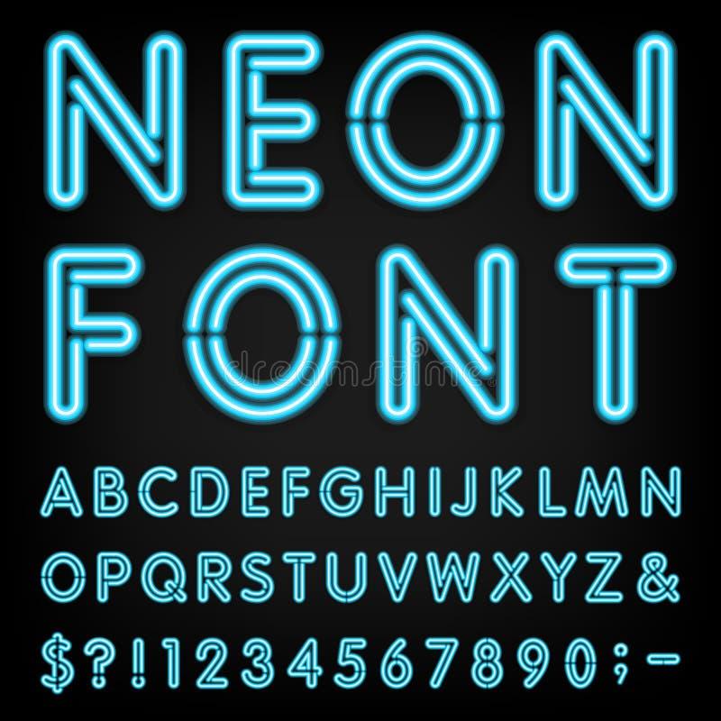 Fonte de vetor do alfabeto da luz de néon ilustração royalty free