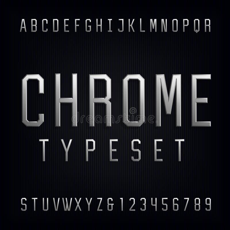 Fonte de vetor do alfabeto de Chrome ilustração stock