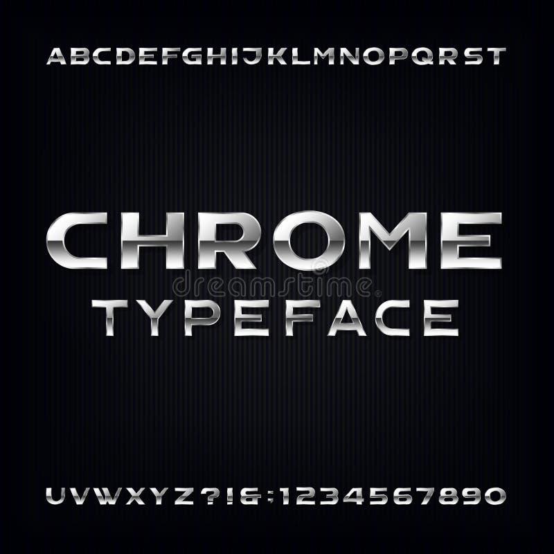 Fonte de vetor do alfabeto de Chrome Letras e números corajosos metálicos modernos ilustração stock