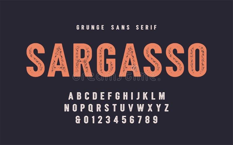 Fonte de vetor do serif de san do grunge do sargaço, alfabeto, caráter tipo ilustração do vetor