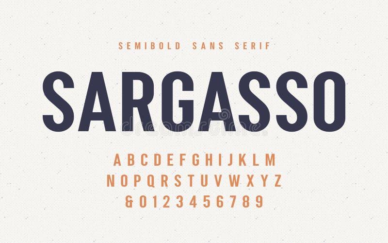 Fonte de vetor do serif de san do semibold do sargaço, alfabeto, caráter tipo ilustração royalty free