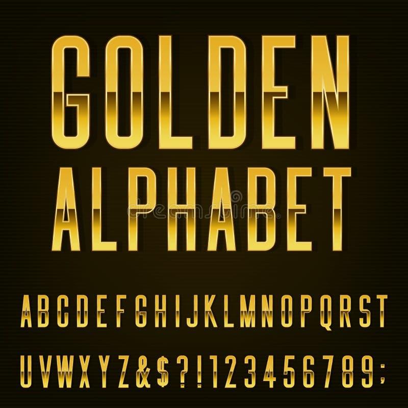 Fonte de vetor dourada do alfabeto ilustração do vetor