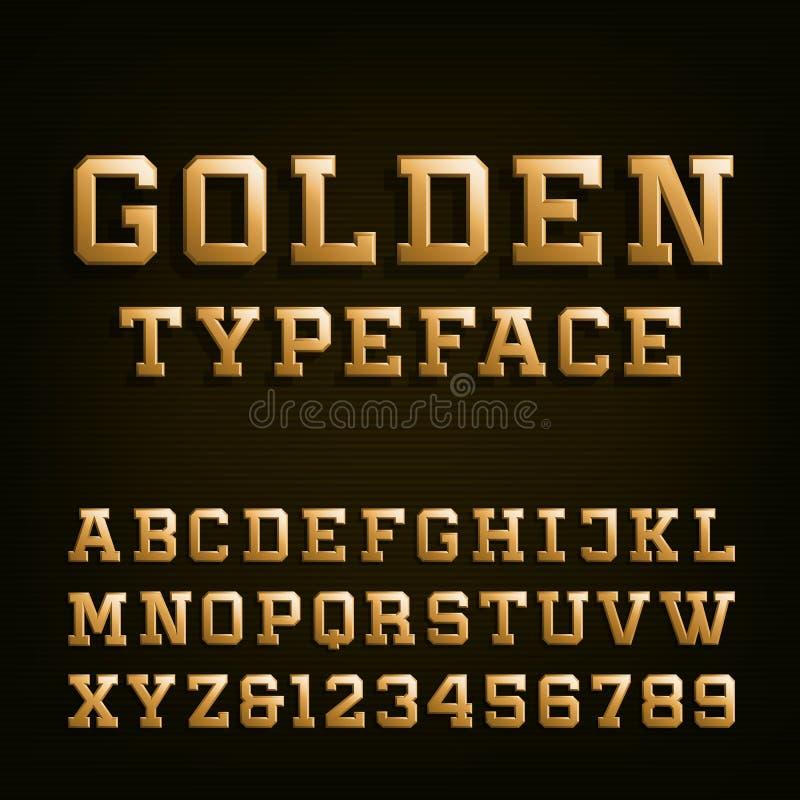 Fonte de vetor dourada do alfabeto ilustração royalty free