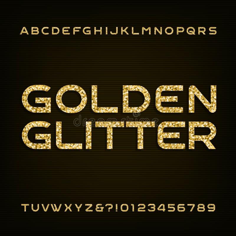 Fonte de vetor dourada do alfabeto do brilho Letras e números ilustração royalty free
