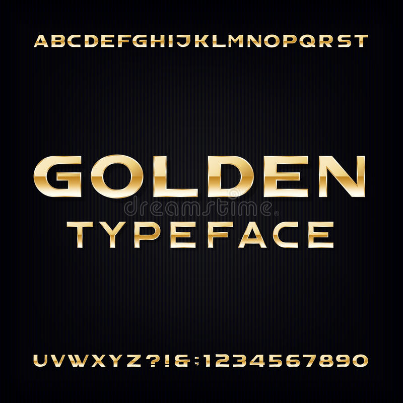 Fonte de vetor dourada do alfabeto Letras e números corajosos metálicos modernos ilustração stock