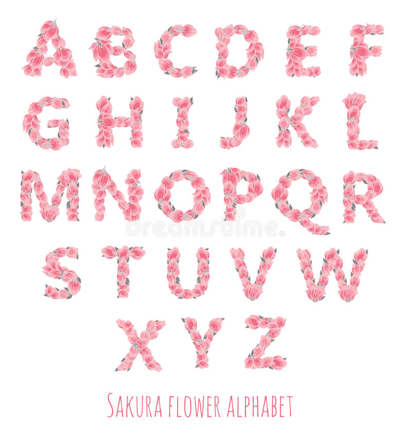 Fonte de vetor feita com flores e folhas de sakura ilustração royalty free