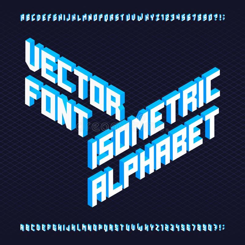 fonte de vetor isométrica do alfabeto 3d ilustração stock