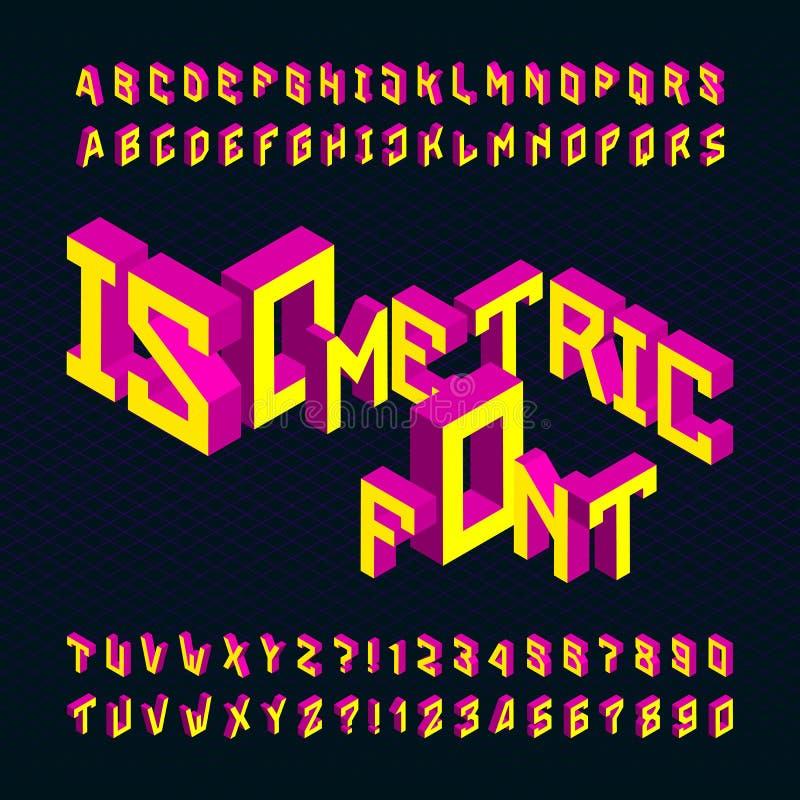 Fonte de vetor isométrica do alfabeto letras 3D e números brilhantes em um fundo escuro ilustração royalty free
