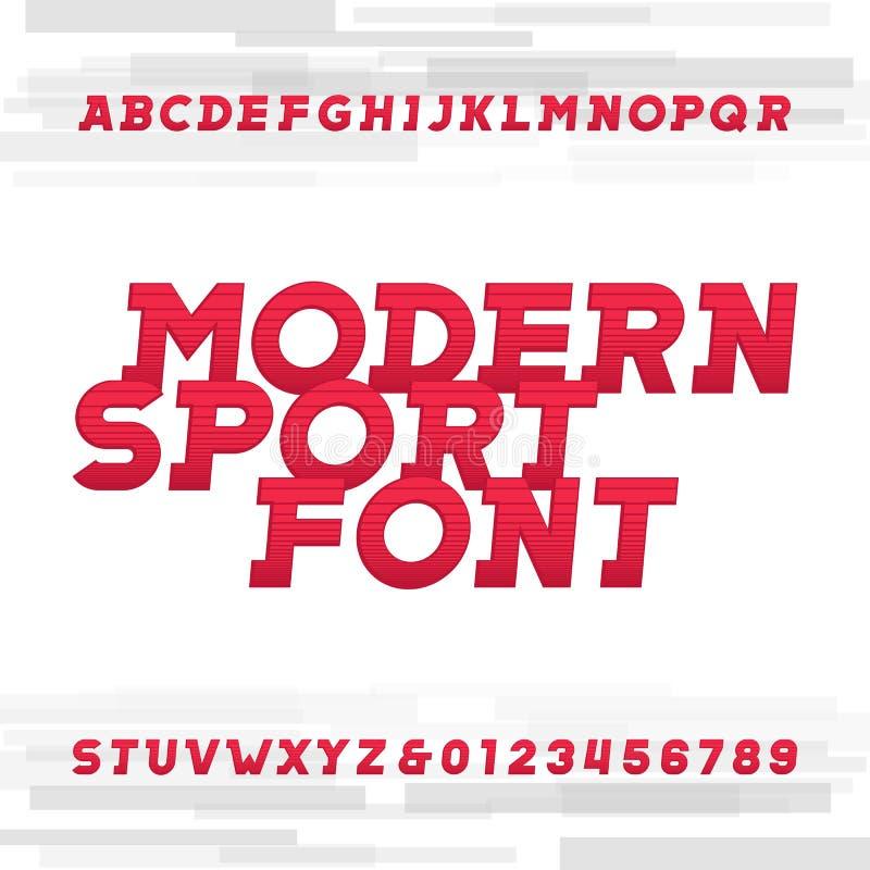Fonte de vetor oblíqua do alfabeto Caráter tipo moderno do estilo do esporte ilustração do vetor