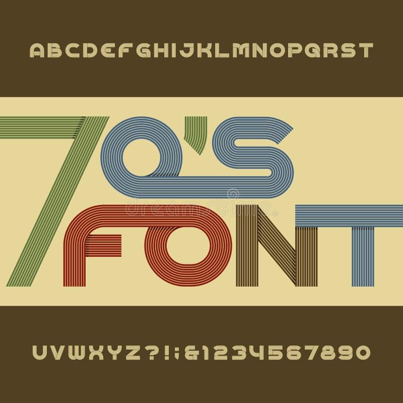 Fonte de vetor retro do alfabeto da listra Tipo funky letras, números e símbolos no estilo dos anos 70 ilustração stock