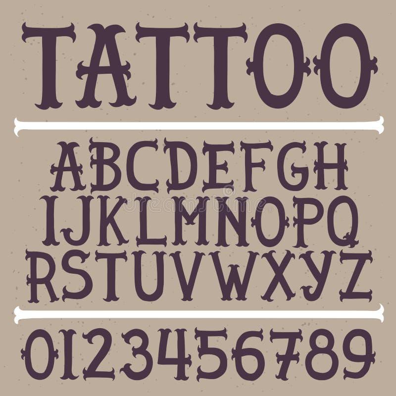 Fonte de vetor tirada mão da tatuagem da velha escola ilustração royalty free