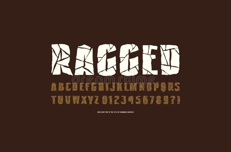 Fonte decorativa de Sans Serif com cara áspera ilustração stock