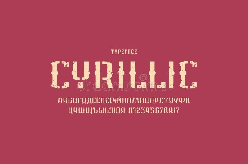 Fonte decorativa de Sans Serif da estêncil-placa no estilo retro ilustração do vetor