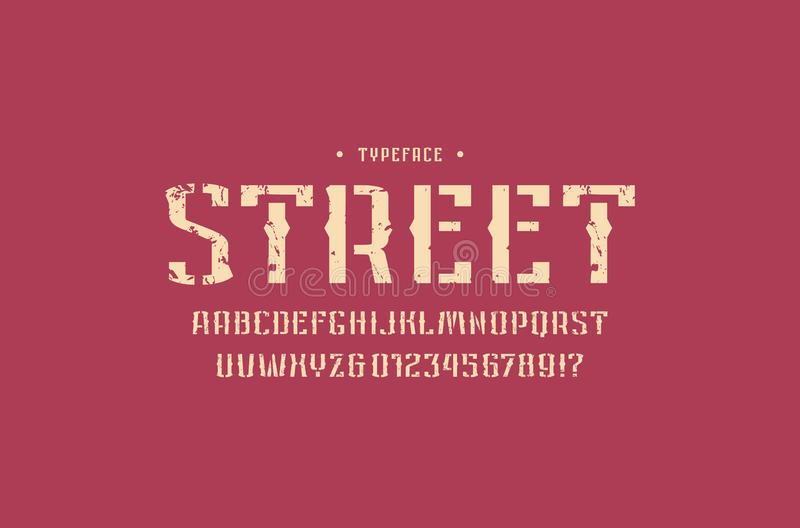 Fonte decorativa de Sans Serif da estêncil-placa no estilo retro ilustração stock