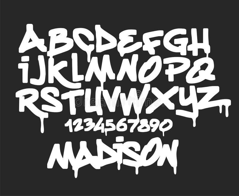Fonte dei graffiti dell'indicatore, illustrazione scritta a mano di vettore di tipografia royalty illustrazione gratis
