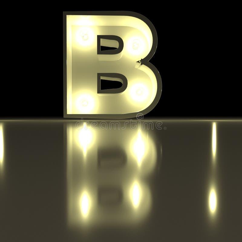 Fonte del carattere B con la riflessione Alph d'ardore della lettera della lampadina royalty illustrazione gratis