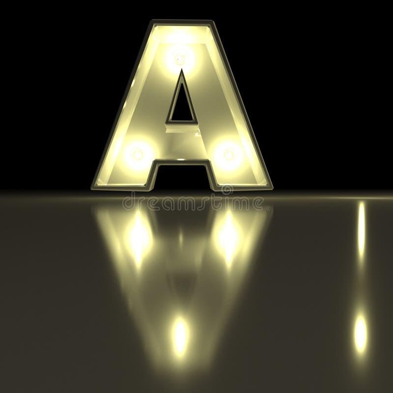 Fonte del carattere A con la riflessione Alph d'ardore della lettera della lampadina illustrazione di stock