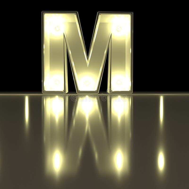 Fonte del carattere m. con la riflessione Alph d'ardore della lettera della lampadina illustrazione di stock