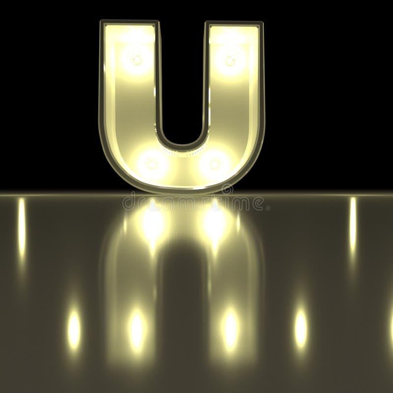 Fonte del carattere U con la riflessione Alph d'ardore della lettera della lampadina illustrazione di stock