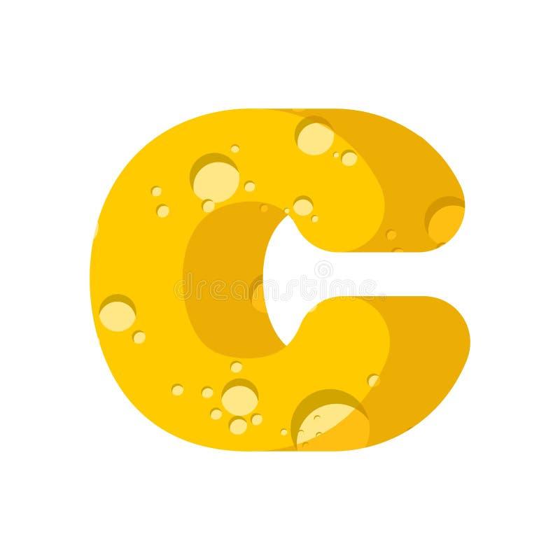 Fonte del formaggio della lettera C Simbolo dell'alfabeto kitsch Tipo dei latticini illustrazione vettoriale