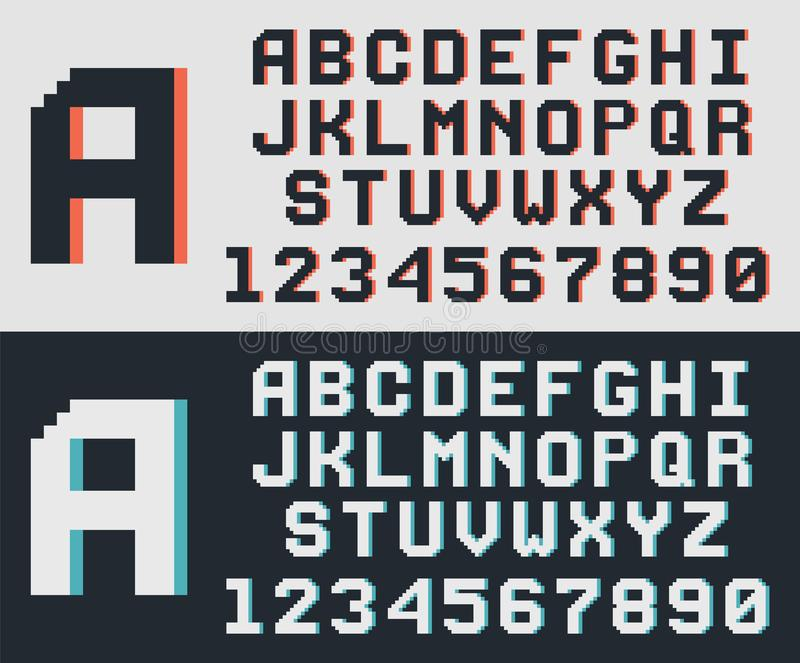 Fonte del gioco del pixel retro illustrazione vettoriale