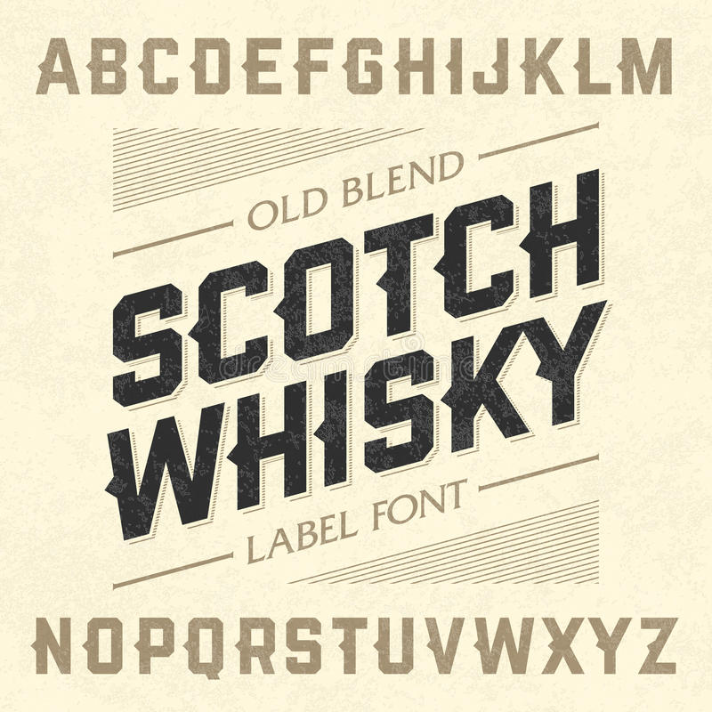 Fonte dell'etichetta di stile del whiskey scozzese con schema di campionamento illustrazione vettoriale