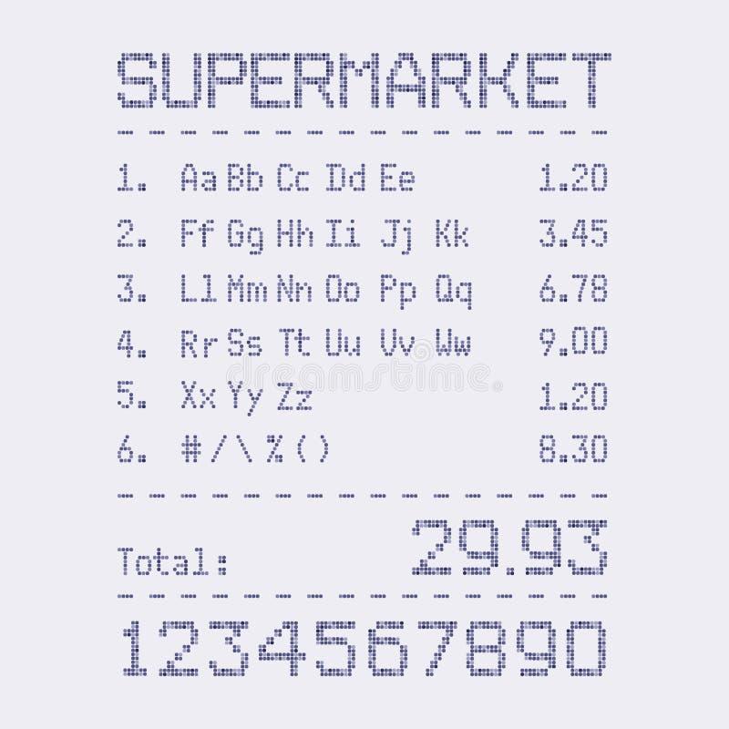 Fonte della fattura del supermercato illustrazione di stock