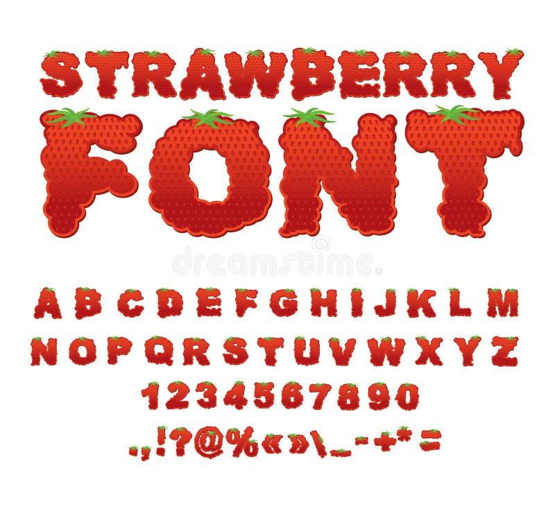 Fonte della fragola Bacca ABC Alfabeto rosso della frutta fresca Segna il franco con lettere illustrazione vettoriale
