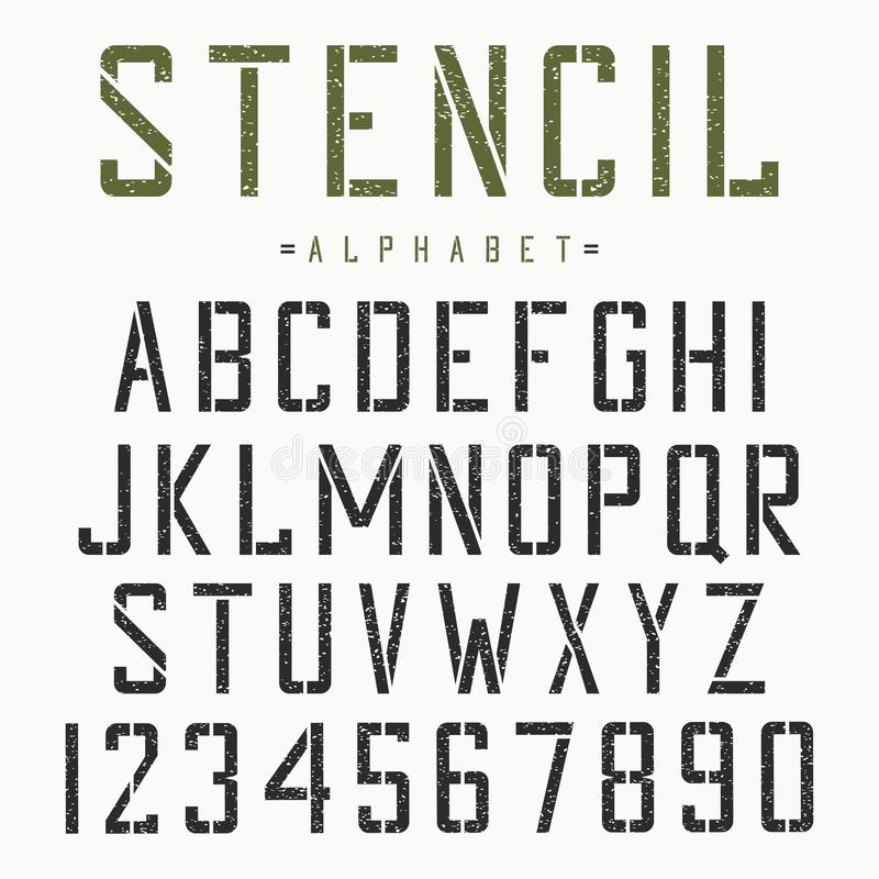 Fonte dello stampino Alfabeto e numeri per il stampino-piatto Carattere d'annata di lerciume Vettore illustrazione di stock