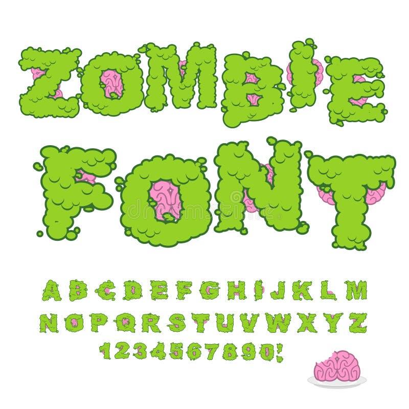 Fonte dello zombie Lettere e cervello verdi spaventosi Halloween orribile A illustrazione di stock