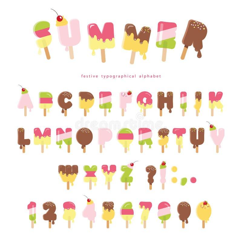 Fonte derretida do gelado As letras e os números coloridos do picolé podem ser usados para o projeto do verão No branco ilustração royalty free