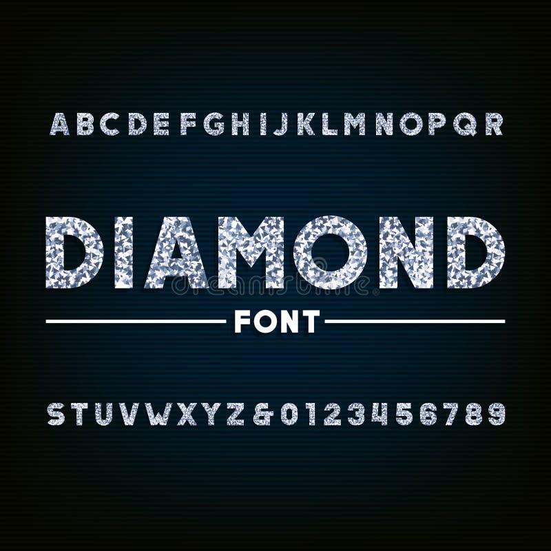Fonte di alfabeto del diamante Lettere e numeri brillanti illustrazione vettoriale