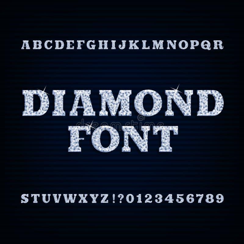 Fonte di alfabeto del diamante Tipo brillante lettere e numeri illustrazione vettoriale