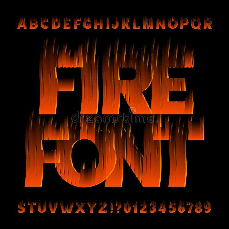 Fonte di alfabeto del fuoco Tipo lettere e numeri di effetto della fiamma su fondo nero illustrazione di stock