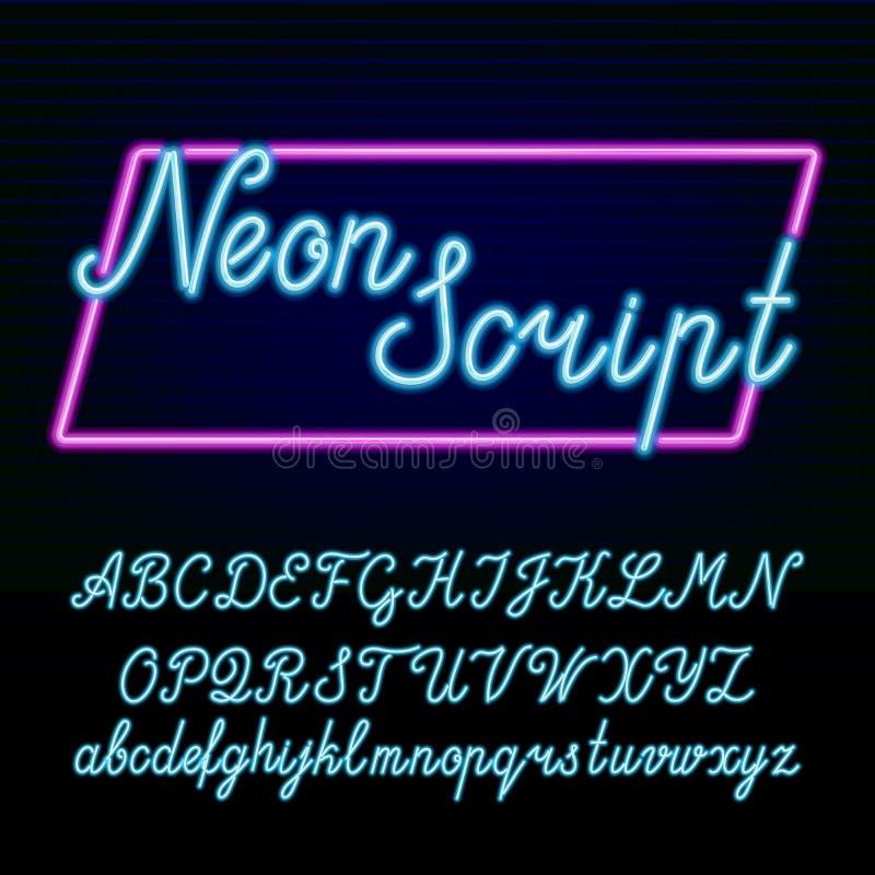 Fonte di alfabeto del tubo al neon Tipo disegnato a mano lettere e numeri dello scritto su un fondo scuro illustrazione di stock