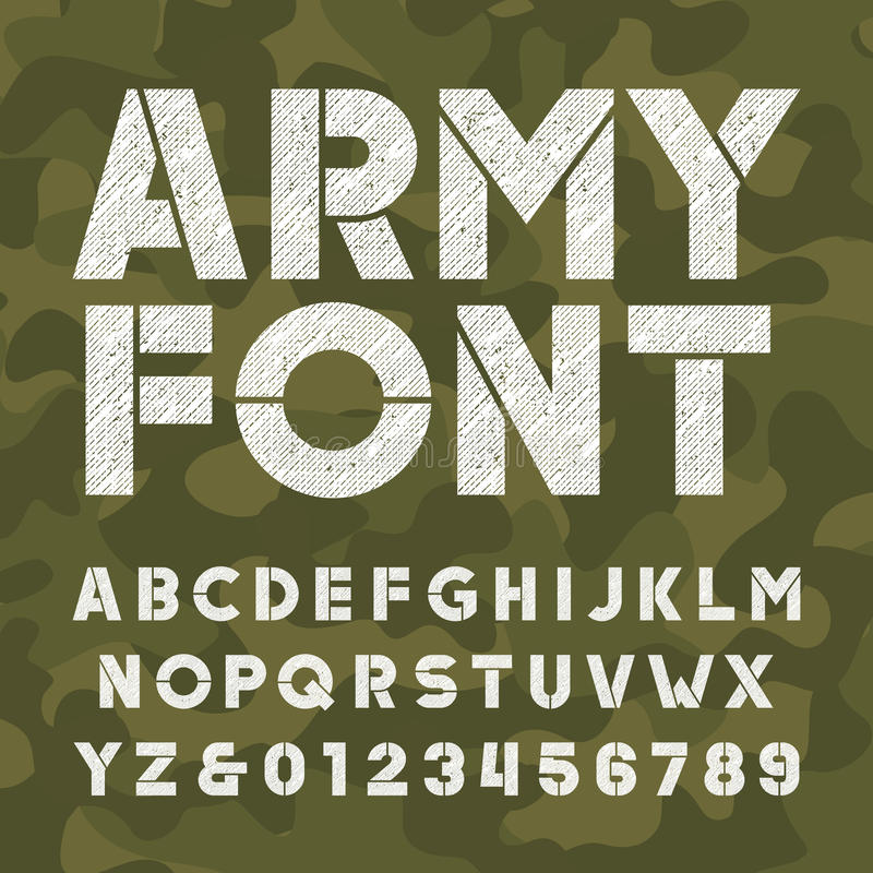 Fonte di alfabeto dell'esercito Grassetto graffiato lettere e numeri sul fondo di camo illustrazione vettoriale